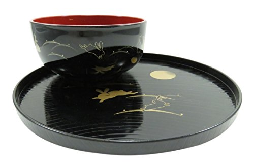 (Rabbit and Full Moon Lacquer Bowl and Plate Tray Black and Red (Set of 2))
