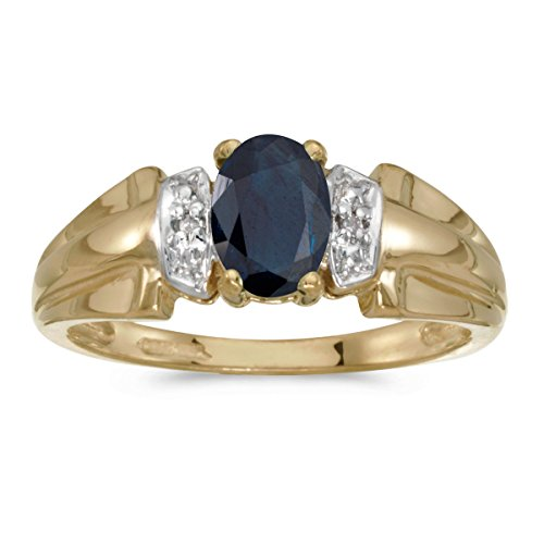 14k Yellow Gold Oval Sapphire And Diamond Ring (Size 9.5) (Sapphire Natural Gold 14k Yellow)