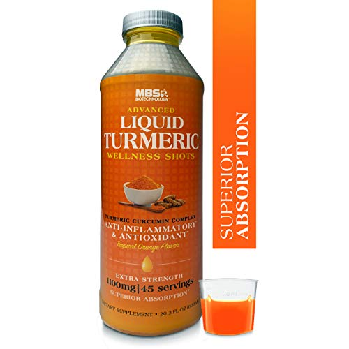 Advanced Liquid Turmeric Curcumin Wellness Shots by MBS BioTechnology - with Bioperine 1100mg, Joint Support & Antioxidant, Extra Strength, 45 Servings