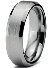 Tungsten Wedding Band Ring 6mm for Men Women Comfort Fit Beveled Edge Brushed Lifetime Guarantee