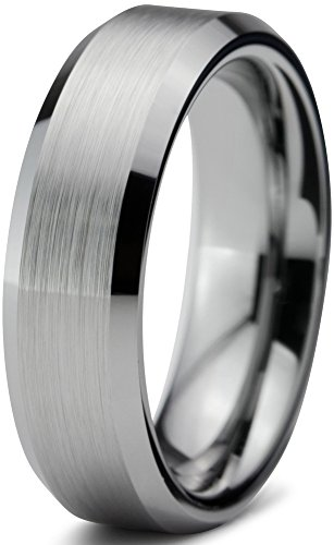 Tungsten Wedding Band Ring 6mm for Men Women Comfort Fit Beveled Edge Brushed Size 9 -