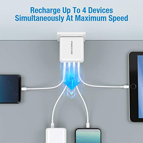 USB Wall Charger, POWERADD 40W 4-Port Multi Port Charger, Charging Station with Foldable Plug, Compatible for iPhone 11/XS/XS Max/XR/X/8/7/6/Plus, iPad Pro/Air 2/Mini 4/3, Galaxy/Note, LG, and More