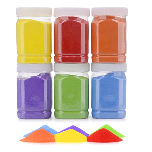 [7.2 Pound] Art Sand/Scenic Sand Non-Toxic Colored Sand for Kids' Arts & Crafts, Terrarium Sand Play DIY Drawing Sandbox Wedding Sand for Decorations and Crafty Collection Sand Bottles ... (6 Bottles)