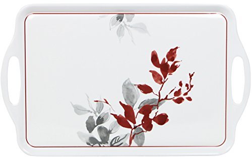 Corelle Coordinates by Reston Lloyd Melamine Rectangular Serving Tray with Handles, Kyoto Leaf
