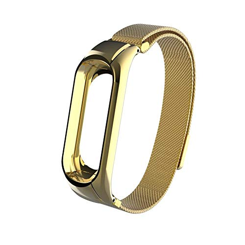 ollivan-xiaomi-mi-band-3-replacement-strap-stainless-steel-wristband-bracelet-replacement-band-wrist-strap-for-mi-band-3-tracker-host-remove-easily-via-double-elastic-buckle-milanese-magnet-gold