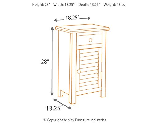 Ashley Furniture Signature Design - Charlowe Nightstand - 1 Cabinet and 1 Drawer - Vintage Casual - White Wash