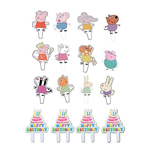 48Pcs Peppa Pig Cupcake Toppers Party Decorative Cupcake Topper for Kids Birthday Party Baby Shower -