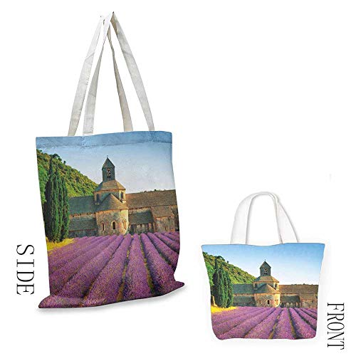 Messenger Abbey - Canvas tote Lavender Abbey of Senanque in France Architecture Countryside Blooming Rows Scenic Doll bag 16.5