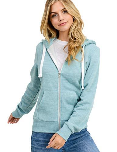 esstive Women's Basic Fleece Full-Zip Hooded Jacket, Marled Smokey Blue, Small