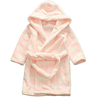 Little Girls Kids Soft Flannel Cartoon Print Long Sleeve Hooded Bathrobe Pajama Sleepwear