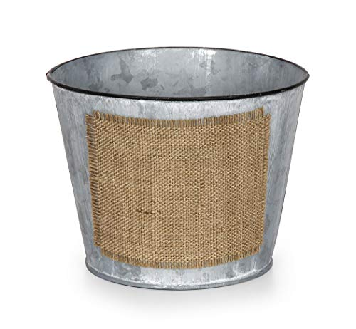 Darice Planter with Burlap Label - Metal - Gray - 6.5 X 5.125