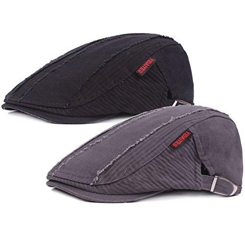 2 Pack Men's Cotton Flat Cap Ivy Gatsby Newsboy Cabbie Caps Hunting Hat