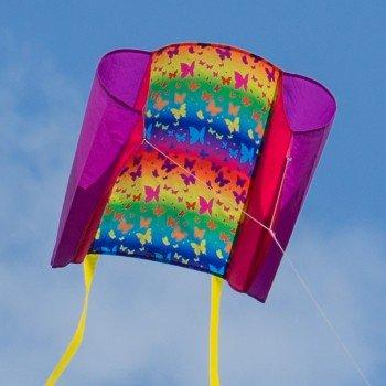 CIM Einleiner-Drachen - Beach Kite Rainbow - für Kinder ab 6 Jahren - Abmessung: 74x47cm - inkl. 80m Drachenschnur und Streifenschwänze Colours in Motion