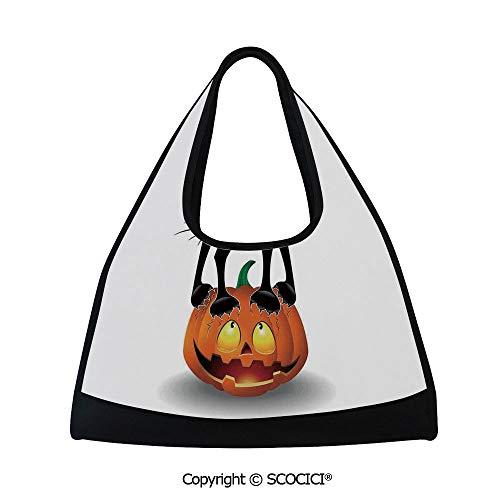 Fitness bag,Black Cat on Pumpkin Spooky Cartoon Characters Halloween Humor Art,Easy to Carry(18.5x6.7x20 in) Orange Black for $<!--$35.99-->