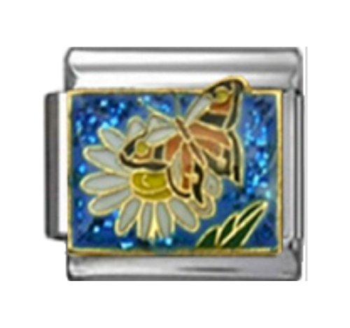 Enamel Garden - Stylysh Charms Butterfly ON Flower Garden Enamel Italian 9mm Link GA044