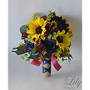 Wedding Bouquet, Bridal Bouquet, Bridesmaid Bouquet, Silk Flower Bouquet, Wedding Flower, Yellow, Sunflower, mini Sunflower, periwinkle, burgundy, maroon, navy, burlap, rustic, Lily of Angeles 106