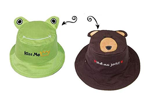 (FlapJackKids - Kids' Sun Hat - Reversible - Frog/Bear Small (6mos - 2 yrs))