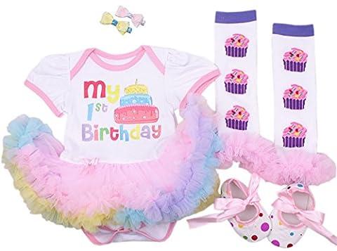 CAKYE® Baby Girls' 5pcs First Birthday Dress Leggings Shoes Bowknot Hairpin (Medium (6-9 months), 1st birthday (1st Birthday Girl Pin)