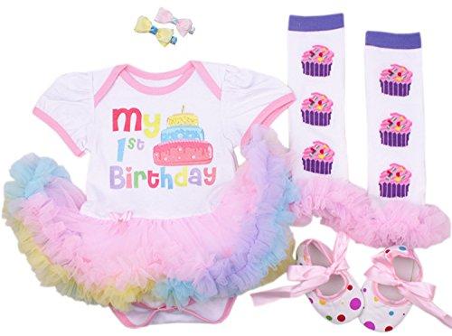 CAKYE® Baby Girls' 5pcs First Birthday Dress Leggings Shoes Bowknot Hairpin (Large (9-12 months), 1st birthday dress)