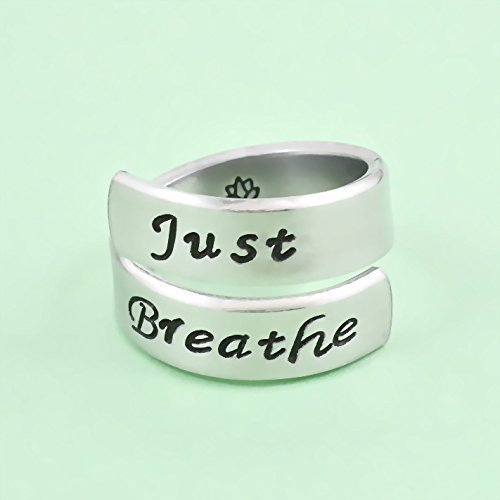 Just Breathe - Hand Stamped Aluminum Spiral Wrap Twist Ring, Yoga Lotus Inspired Ring, Sisters Best Friends BFF Inspirational Personalized Gift