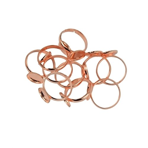 MonkeyJack 10 Pieces Brass Adjustable Flat Ring Findings Pad 10mm Bezel Cabochon Bases Blanks - Rose Gold Gold Ring Base