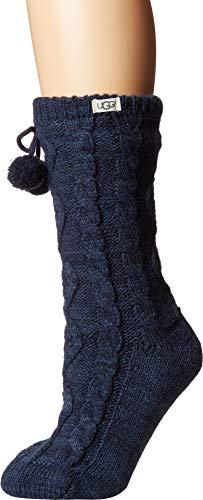 UGG Women's Pom Pom Fleece Lined Crew Sock, Navy, One Size (Lined Stockings Plus Size)