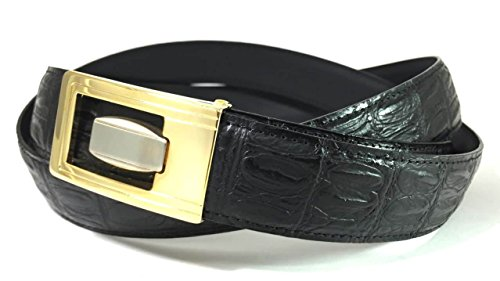 EDNA Bonded Leather Alligator Skin Print Dress Belt Black