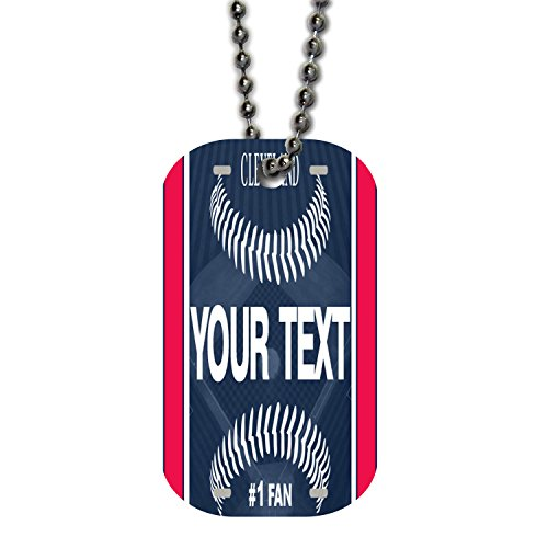 BRGiftShop Customize Your Own Baseball Team Cleveland Single Sided Metal Military ID Dog Tag with Beaded Chain