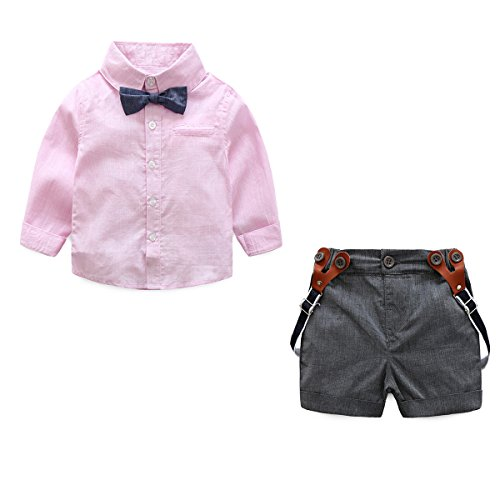JIANLANPTT Toddler Baby Boy Gentleman Outfits Set Bowtie Shirt+Bib Pants Wedding Suit Pink (Boy Wedding)