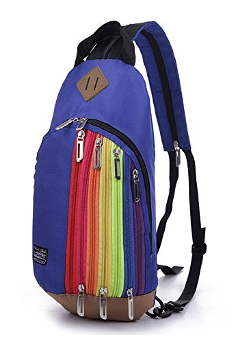 Chest Bag Fashion Girl��s Bag Ladies Backpack Bag Women x Dark stripe 1 rainbow Lightweight Blue Travel Shoulder CqHz8Wxnw