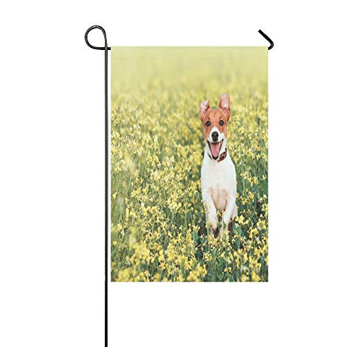 WIEDLKL Home Decorative Outdoor Double Sided Jack Russel Dog Run On Flower Meadow Garden Flag
