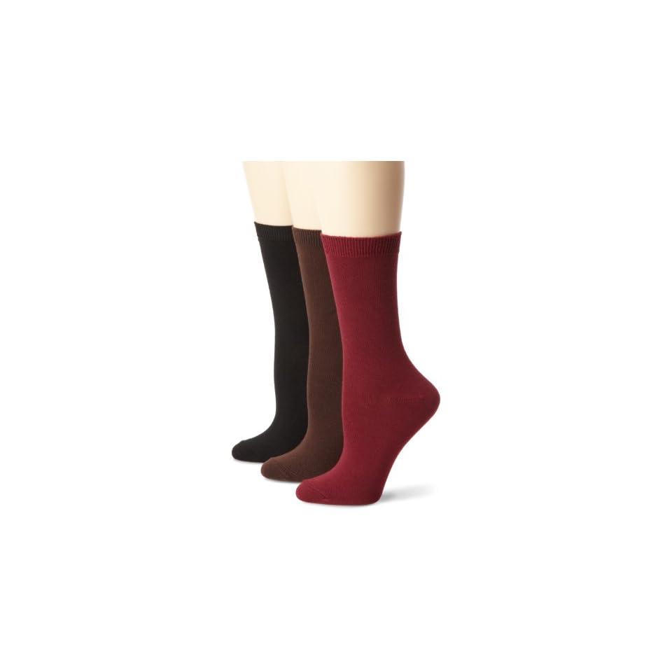 Nine West Womens Solid Flat Knit Crew 3 Pair Sock, Bordeaux, Size 9 11