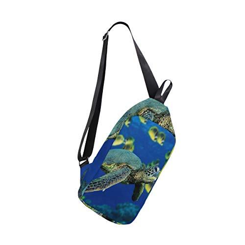 Lovexue Sling Bag Sea Turtle Coloring Mens Chest Shoulder Backpacks Crossbody Travel Bag Pack