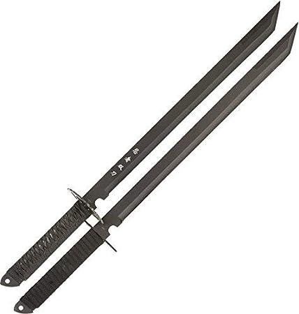 Two-Piece Set 28-Inch Overall Black BladesUSA HK-6183 Twin Ninja Swords
