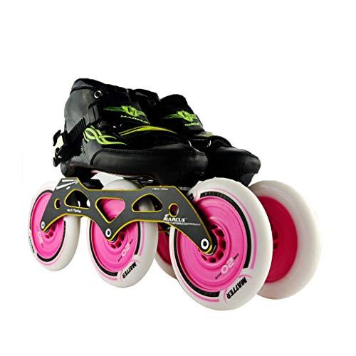 ヘルメット反毒資本主義ailj スピードスケートシューズ3 * 125MM調整可能なインラインスケート、ストレートスケートシューズ(5色) (色 : Orange, サイズ さいず : EU 38/US 6/UK 5/JP 24cm)
