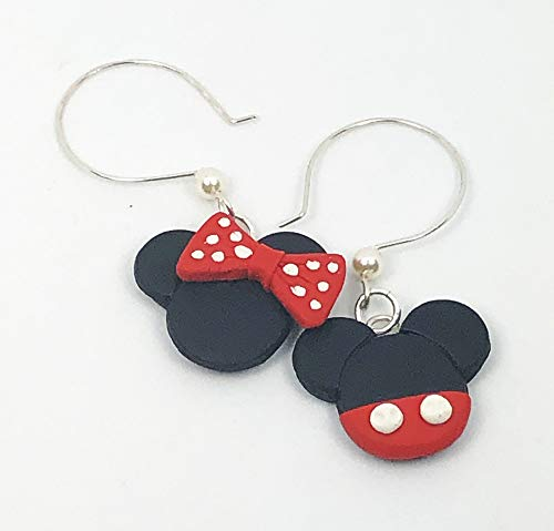 Disney Earrings Dangle (Disney Inspired Dangle Earrings Mickey Mouse and Minnie Mouse Head Polymer Clay Jewelry)