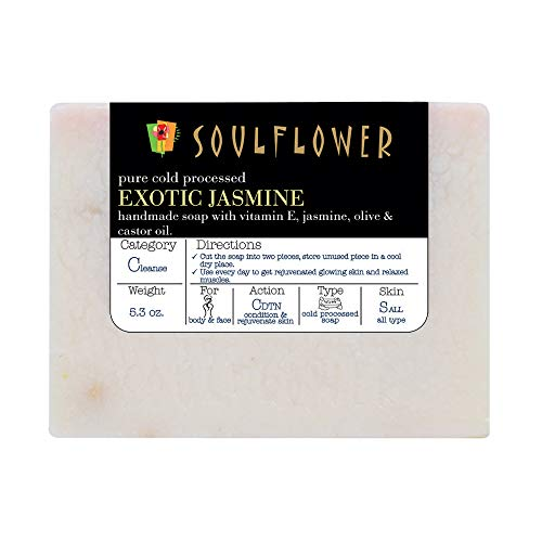 Jasmine Handmade Soap with Coconut Oil, 100% Natural, Organic, Vegan & Cold-processed,USFDA approved, Chemical and Preservative Free, Indian Formulation, 5.3 Oz, 1 - Soap 100% Natural Handmade