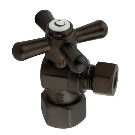 Kingston Brass CC43105X Vintage 1/2-Inch Fip x 3/8-Inch OD 1/4 Angle Stop, Oil Rubbed Bronze (Vintage Angle Stop)