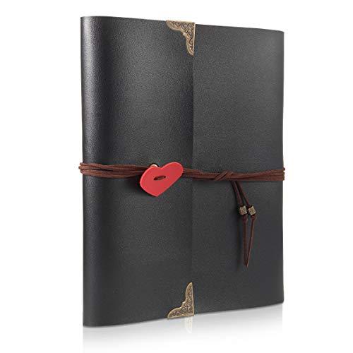 Fotoalbum zum Selbstgestalten Leder Scrapbook Album Schwarze Seiten Fotobuch NEW