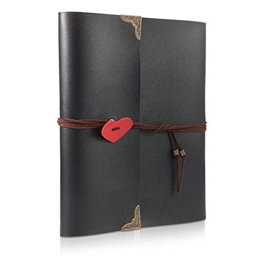 THXMADAM Scrapbook Photo Album Leather Guest Book DIY Wedding Memory Book with 60 Refill Pages Present for Valentines Anniversary Day Birthday Christmas Gift for Wife Mum Dad Daughter Friend