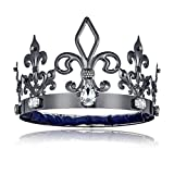 DcZeRong Black King Crowns Adult Men Birthday King Crowns Homecoming Costume Prom King Metal Crowns