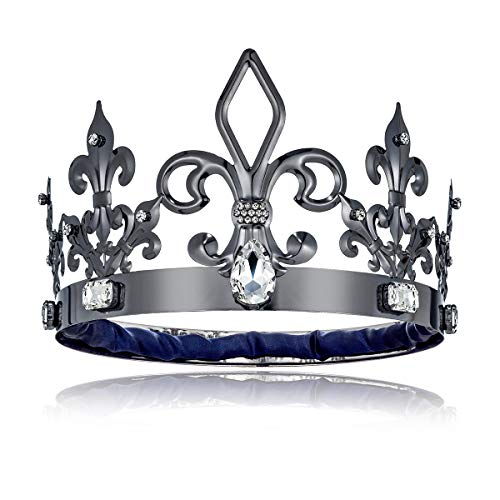 DcZeRong Black King Crowns Adult Men Birthday King Crowns Homecoming Costume Prom King Metal Crowns -