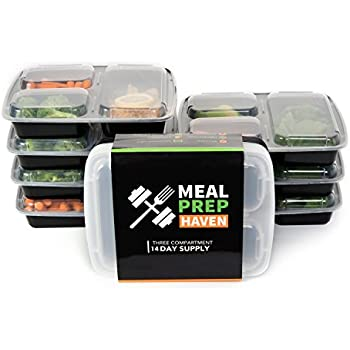 Meal Prep Haven 3 Compartment Food Containers with Airtight Lid, Bento Box, Lunch Box for Meal Prep, 21 Day Fix and Portion Control, Set of 14