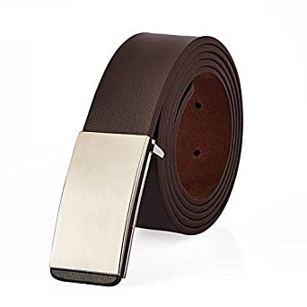 MINGXIN mens real leather belt pure metal buckle fashion 35mm business waistband