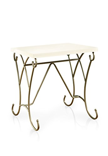 Gold Metal Carriage Clock - HOMES: Inside + Out ioHOMES Alexandria Scrolled Frame Nightstand, Champagne