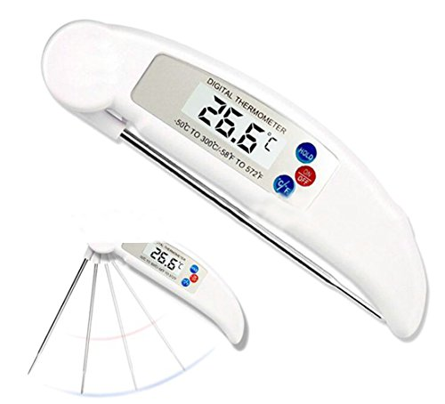 JWK Read Food Temps Fast - Instant Talking Meat Thermometer - Large Backlit LCD Display & Folding Probe - Tested BEST OF 21! Clear Voice, Accurate - Perfect for Steak Grilling, BBQ White