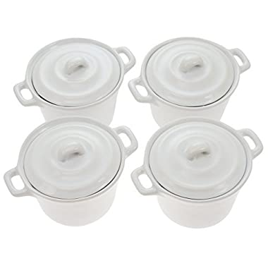 4 Ramekin Mini Casserole Dish Set w/ Lid White 4oz Oven Safe Ceramic Baking Pan