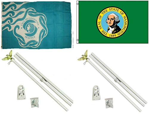 ALBATROS 3 ft x 5 ft City of Seattle with State of Washington Flag with 2 White with Pole Kit Sets for Home and Parades, Official Party, All Weather Indoors Outdoors]()