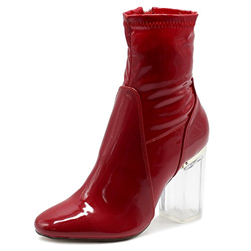 Ollio Women's Shoe Enamel Patent Side Zip Up Clear High Heel Ankle Boots MGB25 (6.5 B(M) US, Red) ()