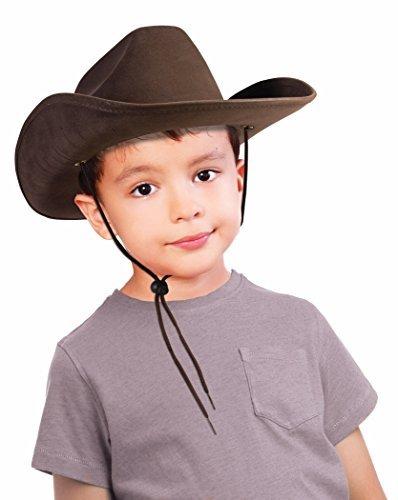 Children's Dark Brown Felt Cowboy Hat with Drawstring
